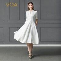 VOA тяжелый шелк жаккард одноцветное белое платье плюс Размеры 5XL офисные вечерние Harajuku с v образным вырезом узкие рукава до локтя миди Винтаж