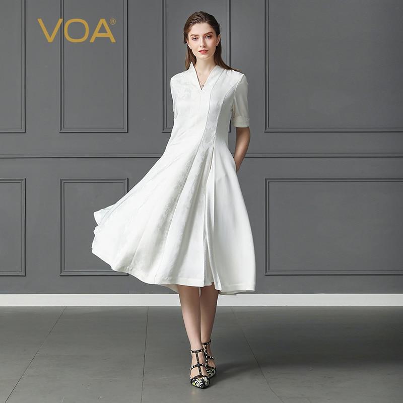 VOA Heavy Silk Jacquard Solid White Dress Plus Size 5XL Office Party Harajuku V Neck Half Sleeve Slim Midi Vintage Women A163