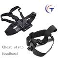 Gopro Adjustable elastic chest strap+headband mountain monopod for Go pro hero 3 4 3 + sjcam SJ4000 Action Accessories