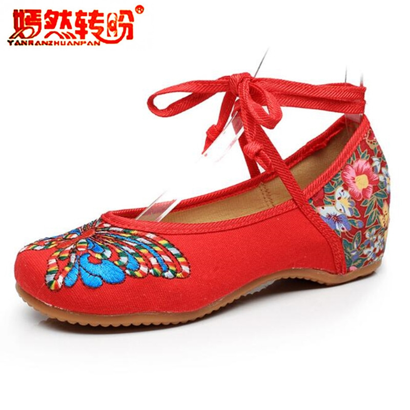 Big Size 41 Lace Up Women Ballet Flats Shoes Ethnic Butterfly Embroidery Mary Jane Chinese Old Peking Casual Cloth Dancing Shoes wegogo women flats shoes old peking mary jane phoenix floral embroidery soft sole zapatos de mujer ballet flat plus size 41