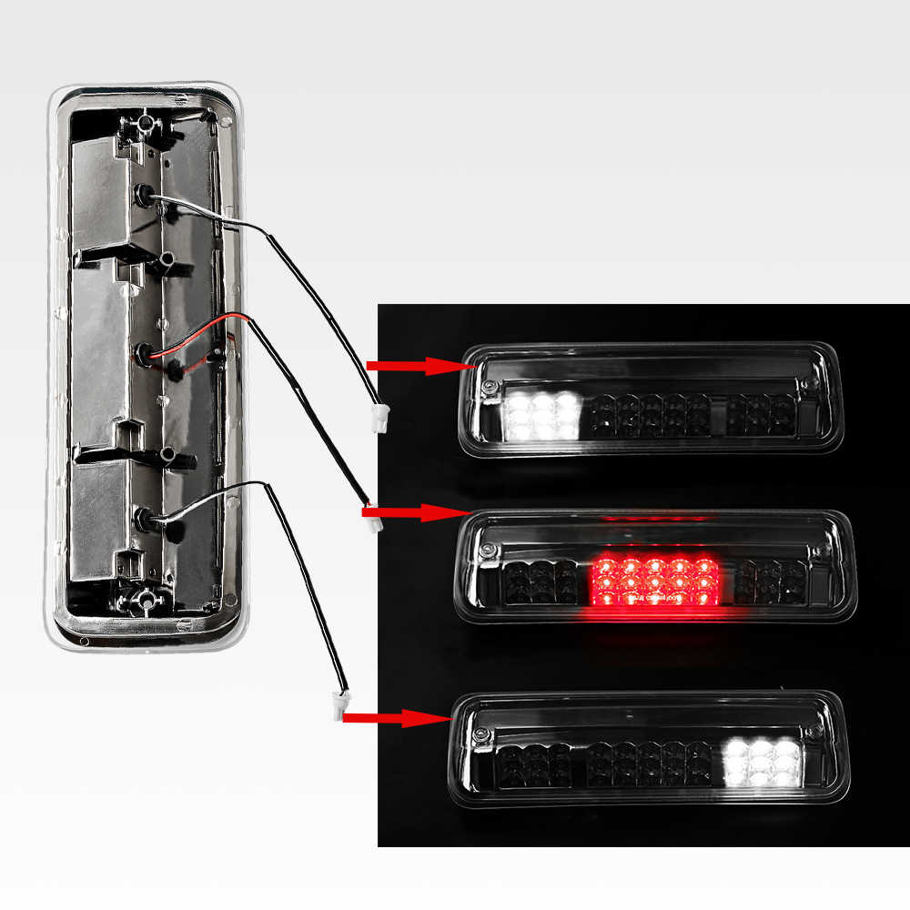 High Mount Dual Row LED 3rd Brake/Cargo Light Chrome Housing  For Ford F150 11th Gen For Lincoln Mark LT