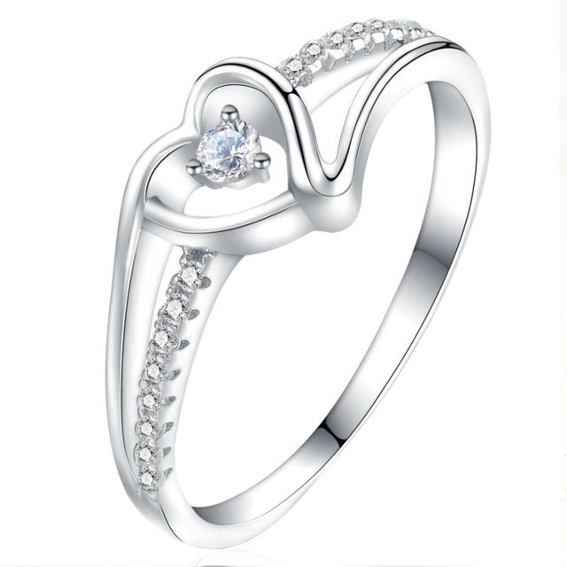 Newshe Heart Shape Proposal Ring Real 925 Sterling Silver Wedding Engagement Band Design Jewelry For