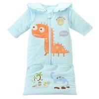 Autumn Winter Warm Baby Lengthening Sleeping Bag Removable Sleeve Knitted Cartoon Animals Cotton Sleeping Bag