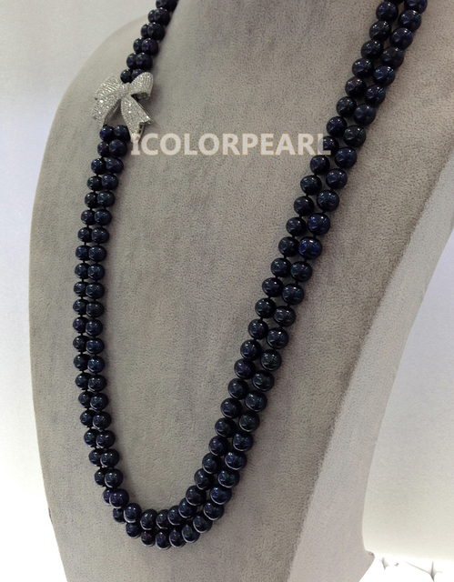 80-90cm Two-Strand 8-9.5mm Black Nearround Natural Freshwater Pearl With Silver Butterfly With Crystal Jewelry Sweater Necklace.