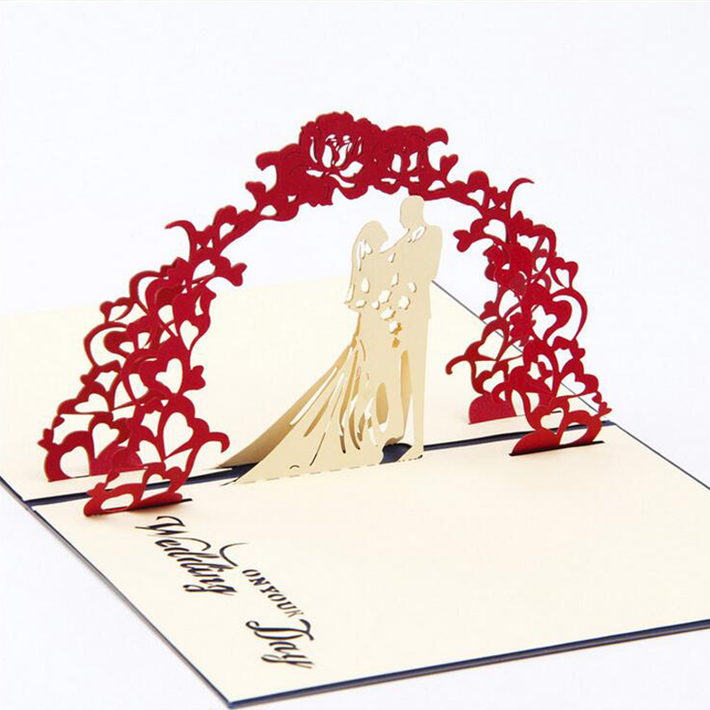 Fashion 3d Pop Up Foldable Cut Paper Greeting Cards Creative