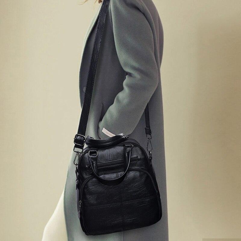 Купить с кэшбэком 2019 Multifunction Women Leather Backpacks Sac a Dos Female School Shoulder Bags For Teenage Girls Travel Ladies Black Back Pack