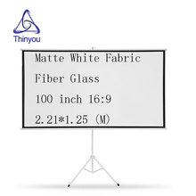 Thinyou 100 Inch 16:9 Portable projector screen Matte White Fabric Fiber High Definition Bracket Screen with Stable Stand Tripod