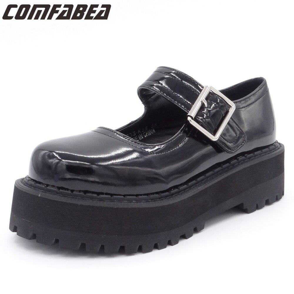 المرأة الربيع الخريف أحذية امرأة 2019 الخريف براءات الاختراع والجلود لوليتا الطلاب الأحذية فاسق الأسود السيدات حذاء أحذية منصة-في أحذية نسائية مسطحة من أحذية على  مجموعة 1
