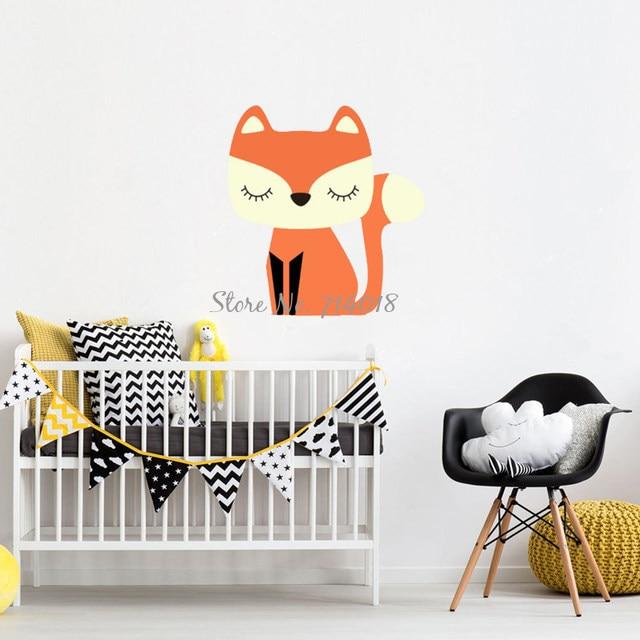 Cute Cartoon Fox Wall Stickers Vinyl Wall Decals Kids Bedroom Home Decor  Boys Playroom Wall Tattoo Baby Nursery Poster B17 B18