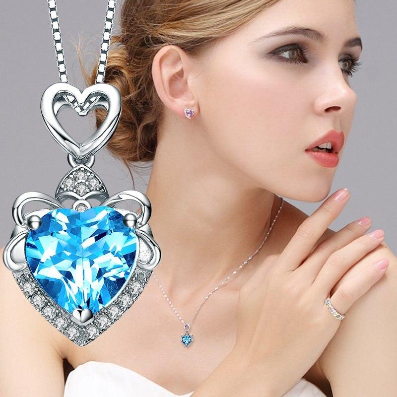 Ruoye New 2017 Fashion Luxury Purple Blue Crystal Necklace