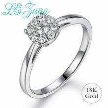 L&zuan 18K Gold Wedding Band Rings for Women Natural 0.21ct Diamonds Rings Engagement Wedding Bridal Fine Jewelry Valentine Gift(China)