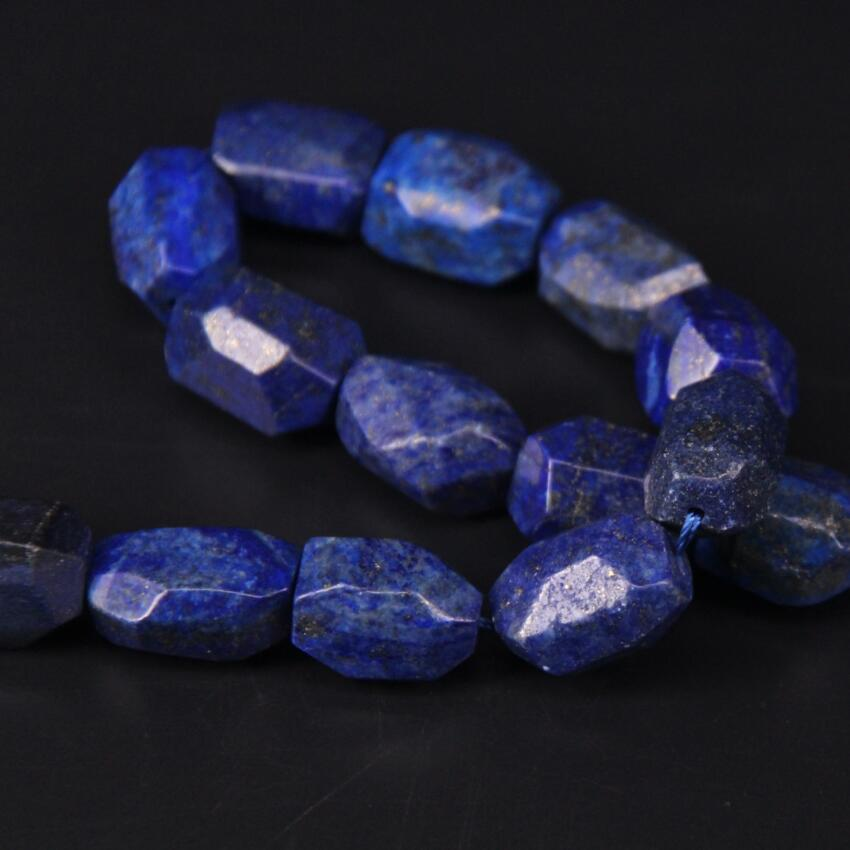 15 5 quot strand Faceted Lapis Lazuli Nugget Loose Beads Freeform Natural Blue Gems Stone Pendant Charms For Bracelat Jewelry Making in Beads from Jewelry amp Accessories