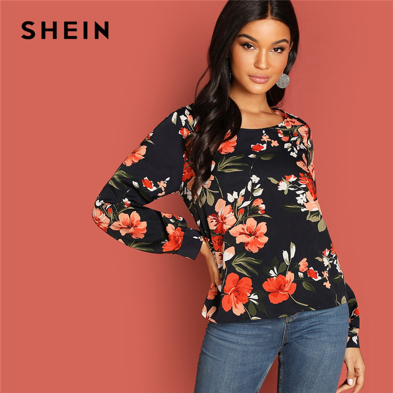 SHEIN Multicolor Highstreet Flower Print Round Neck Top Autumn Modern Lady Women Tops And Blouses