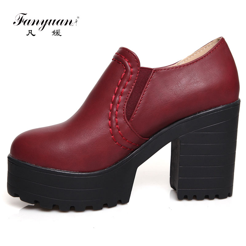 Fanyuan New fashion spring autumn PU leather slip on high heels 9cm handmade shoes for woman high heels square heel Size 34-46 3mma 2017 new brand spring faux suede leopard wedge heel shoes woman high heel pumps slip on heels office shoes big size 34 46