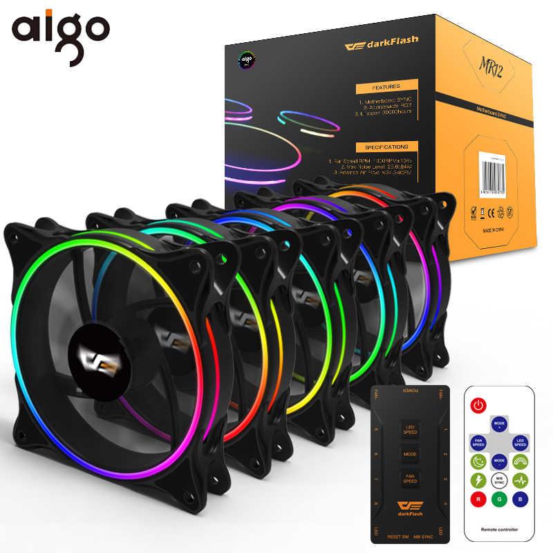 Aigo funda de ordenador ventiladores RGB ajustar 120mm silencioso IR remoto abanico colorido MR12 Aura Sync 3 P-5 v enfriador ventilador de refrigeración