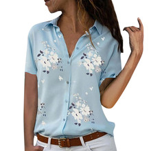 Women tops Plus Size Loose Print V-neck Short Sleeve Print Blouse Pullover Tops Shirt Blouse Women Summer Office Shirts Elegant