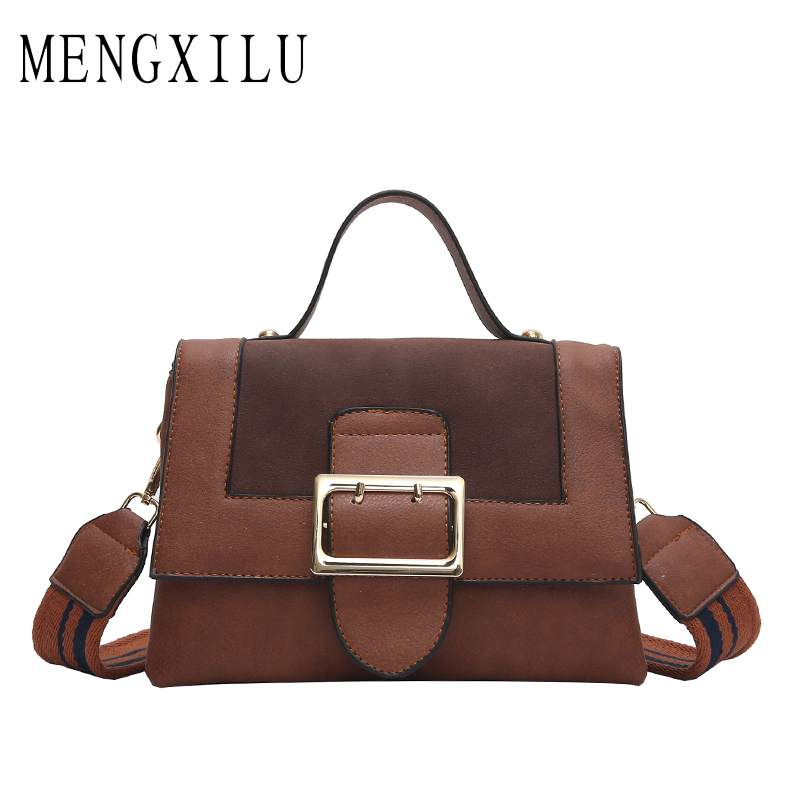 MENGXILU 2018 New Vintage Bag Women Messenger Bags Crossbody Small Shoulder Bags For Women Wide Strap Pu Leather Handbags Sac women new handbags strap leather fashion red buckle crossbody bag straps new wide belt bags parts replacement classic style