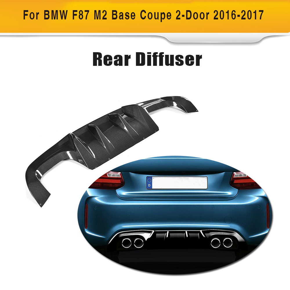 carbon fiber  four outlet car rear bumper lip spoiler diffuser for BMW 2 Series F87 M2 Base Coupe 2 Door 2016-2017 P B Style carbon fiber nism style hood lip bonnet lip attachement valance accessories parts for nissan skyline r32 gtr gts