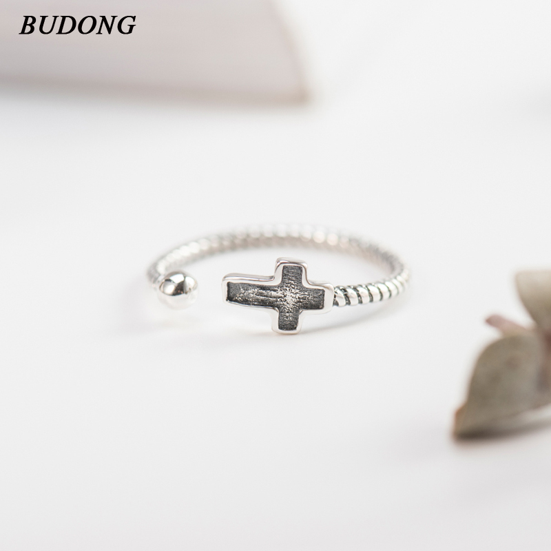 BUDONG Vintage Korean Style 925 Sterling Silver Rings Dazzling Cross Finger Ring Classic Wedding Jewelry Christmas Gift XURT069