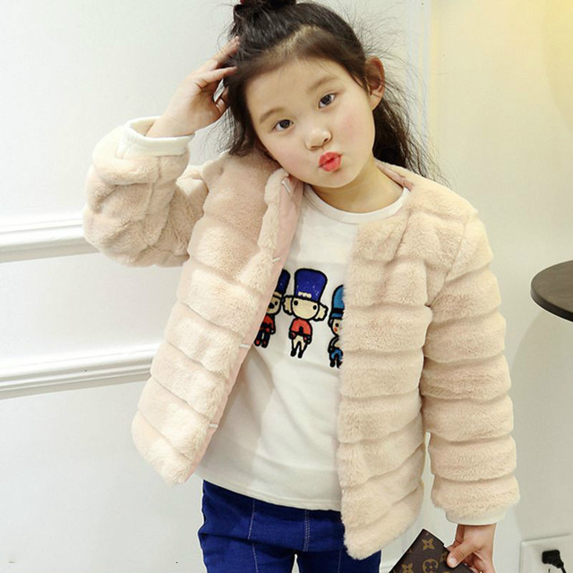 19d68693be7f Loose Winter Faux Fur Coats Girls 2018 Latest Style Children Pink ...