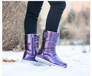 Image 3 - Высококачественные женские ботинки; Новое поступление 2020 года; Водонепроницаемая зимняя обувь на толстом меху; Нескользящие женские зимние ботинки на платформе; 40; n541
