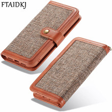 FTAIDKJ For iPhone XS Max Case Jeans Canvas Wallet Phone X XR 7 6 6S 8 Plus Card Slot PU Leather Flip Cover