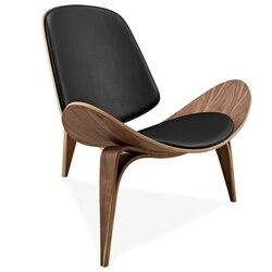 هانز يجنر نمط ثلاثة أرجل قذيفة كرسي الرماد الخشب الرقائقي جلد صناعي أسود غرفة المعيشة الأثاث الحديثة قذيفة كرسي طبق الاصل