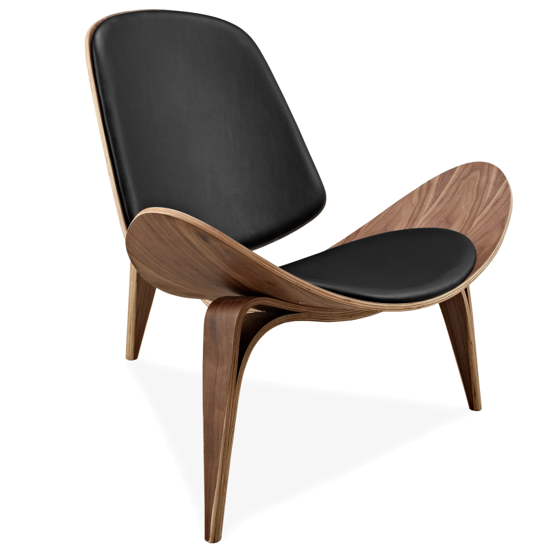 Hans Wegner Style Three-Legged Shell Chair Ash Plywood Black Faux Leather Living Furniture Furniture Modern Shell Chair Replica