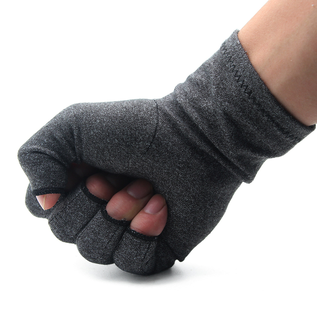 1 Pair Womens Mens fiber Therapy Compression Gloves Hand Arthritis Joint Pain Relief Half Full Finger Therapy Gloves 1