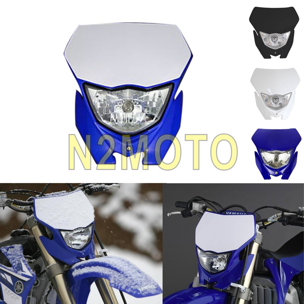Motocross Headlight White H4 12V 35W Dual Sport Kit For Yamaha WRF250/400/426/450 YZ TTR WR XT MX Enduro Dirt Bike Head Light