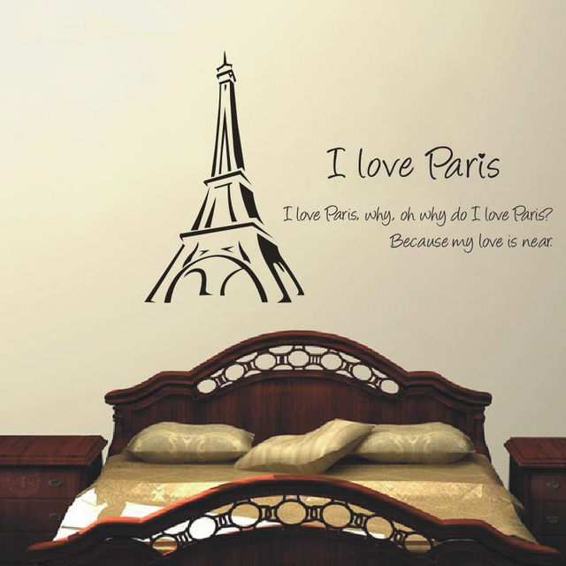 Wall Stickers I Love Paris Eiffel Tower Love Quotes Removable Post Wall Art  Vinyl Wall Sticker For Bedroom Livingroom Home Decor