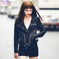 Trendy PU Leather Lapel Short Motorcycle Biker Jacket Women's Zipper Faux leather Ajustable Waist Hem Coat Outerwear Tops