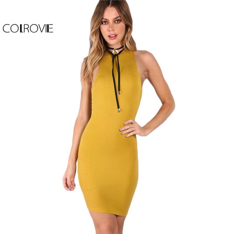 Colrovie sin mangas summer dress mujeres amarillo racer volver atractivo del clu