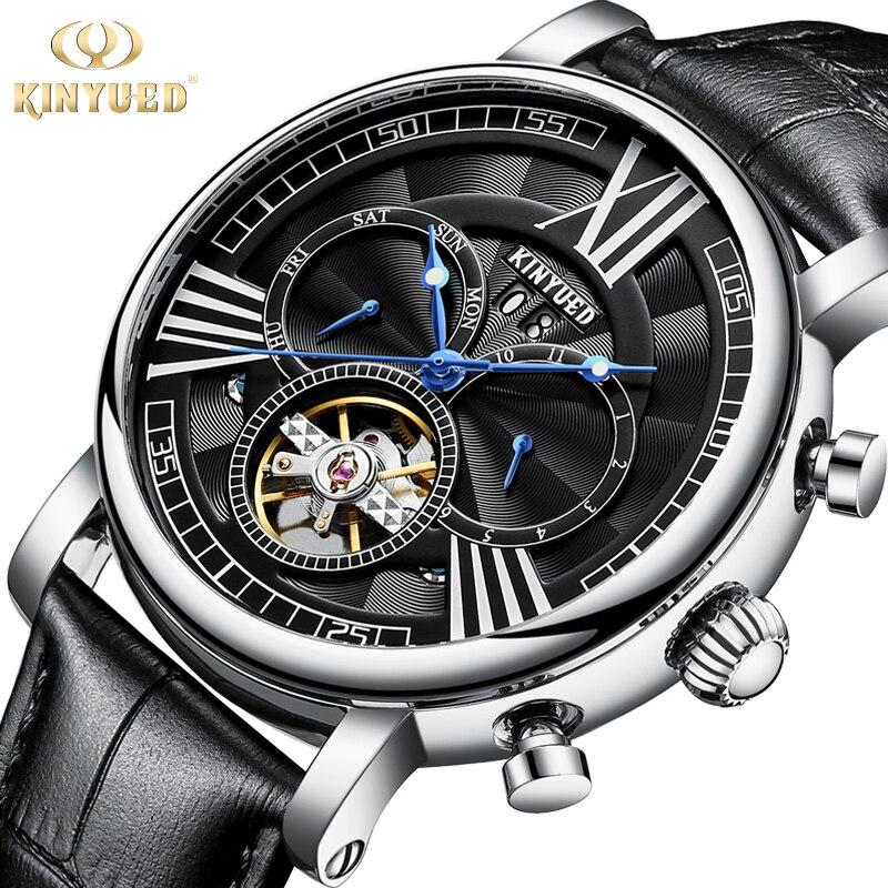KINYUED Luxe Tourbillon Mechanische Horloge Mannen Automatische Skelet Horloges Militaire Datum Man Klok Lederen Relogio Masculino-in Mechanische Horloges van Horloges op  Groep 1