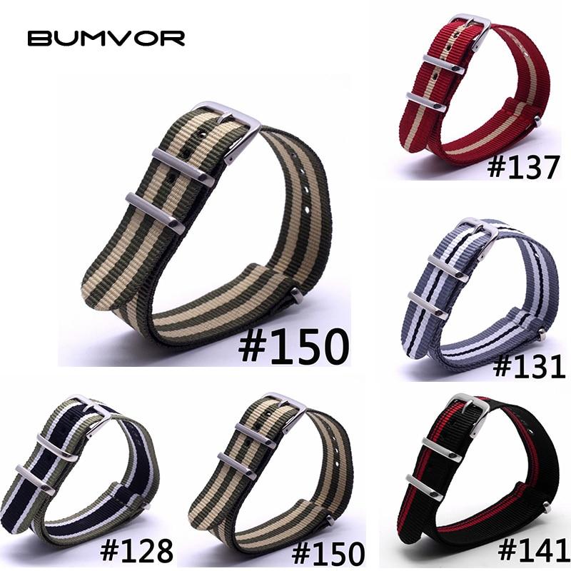BUMVOR 1PCS Women Men Watchband Wholesale Watches Nylon Nato Strap 20mm WatchBand Waterproof Watch Strap