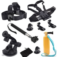 Gopro Accessories Set Chest Head Strap Monopod Floating Bobber Mount for Go pro Hero 5 Xiaomi Yi SJCAM Sj4000 black edition