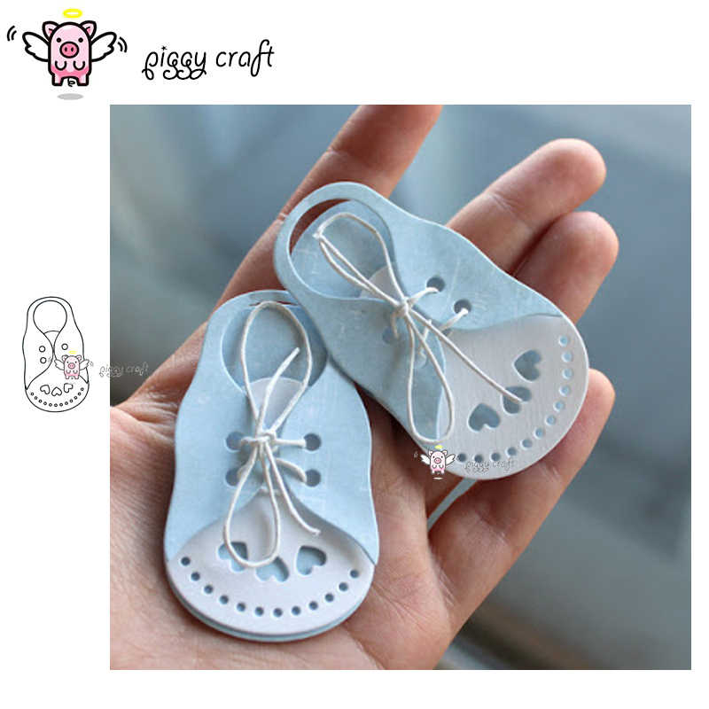 Piggy Craft metal cutting dies cut die mold Baby shoes Scrapbook paper craft knife mould blade punch stencils dies