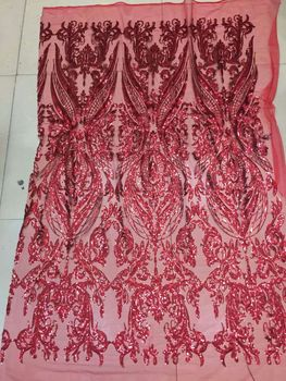 5 yards xi001# red sequin embroidery net mesh lace fabric for dress sawing/party dress/occassion
