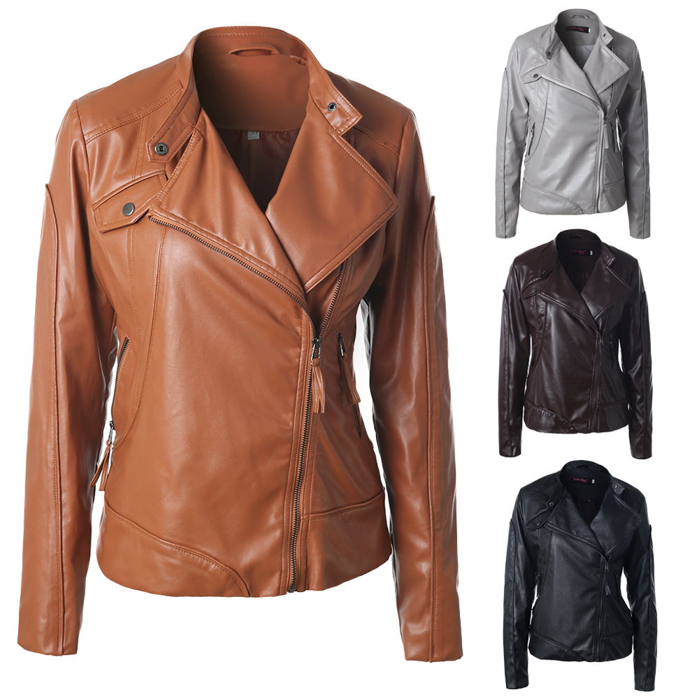 Basic Jackets High Quality 2017 Autumn Pu Leather Jacket Women Leather Overcoat Jacket Casual Motorcycle Biker Good Quality Ladies Coat Catalogues Will Be Sent Upon Request