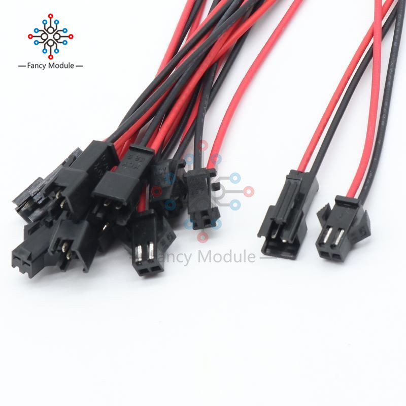 10Pairs 15cm Long JST SM 2Pins Plug Male To Female Wire Cable Connector Adapter For 3528 5050 LED Light Strip