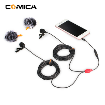 COMICA Universal Dual-head Mic Two-way Audio Lavalier Wired Microphone 2.5m/4.5m/6.0m for Smartphone DSLR Sports GoPro Camera Microphones