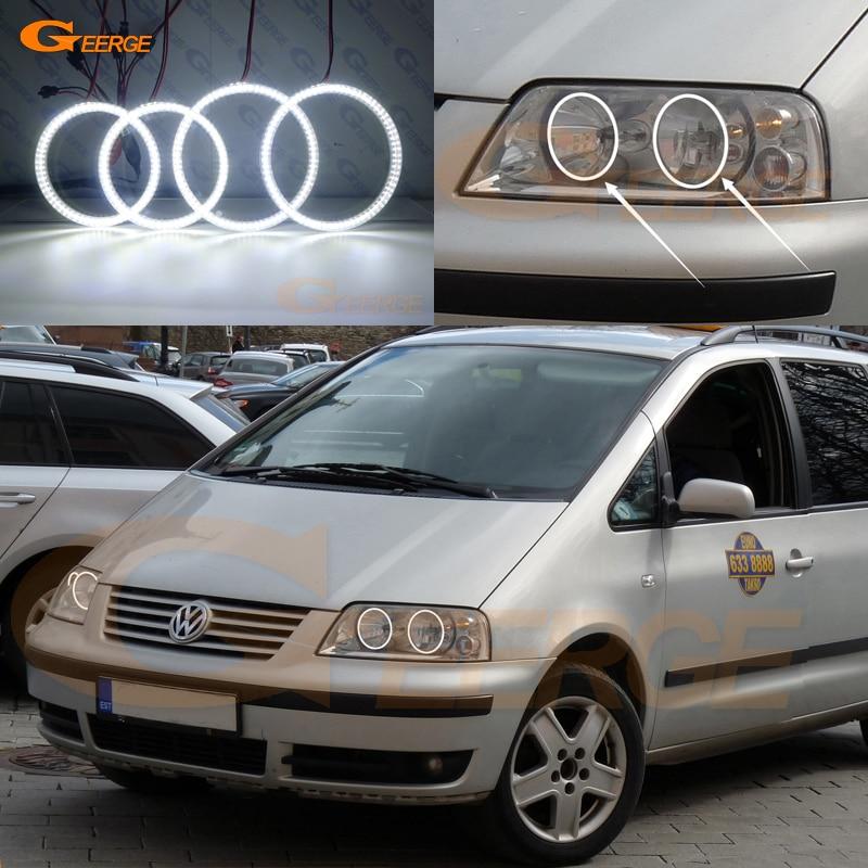For Volkswagen VW SHARAN 2000-2010 Halogen headlight Excellent Ultra bright illumination smd led Angel Eyes kit DRL цена