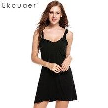 Ekouaer 2017 New Women Sexy Nightwear 4 Colors Sleeveless Sleepwear Solid V Neck Nightgown Sleepwear Cami Slip Camisole Dress