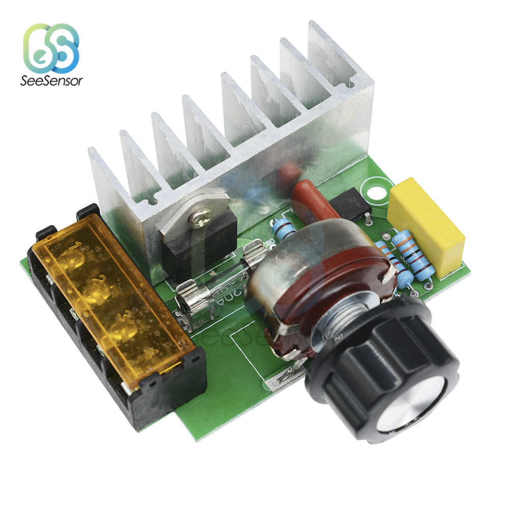 1pc Motor Speed Controller 0-220VAC Adjustable Thyristor Voltage Regulator 4000W