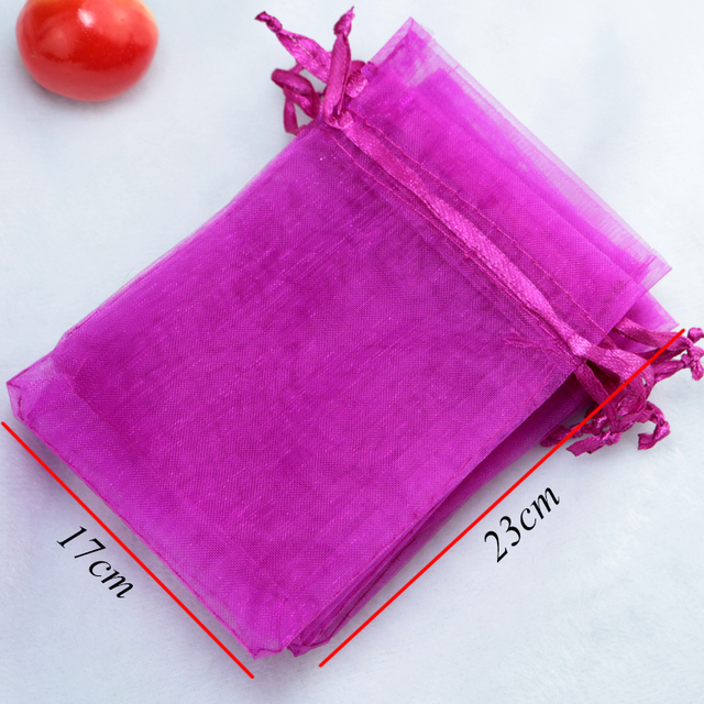 100pcs Fuchsia Patterns Luxury Organza Jewelry Bags Christmas Wedding Voile Gift Bag Drawstring Packaging Pouch