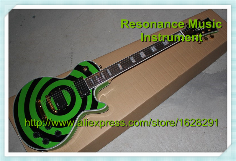 Reliable Feedback China LP Custom Plus Zakk Wylde Guitar Bullseye Green and Black In Stock gute cold rolled steel three section drawer slide heavy duty drawer track mute cabinet wardrobe kitchen cupboard slide rails