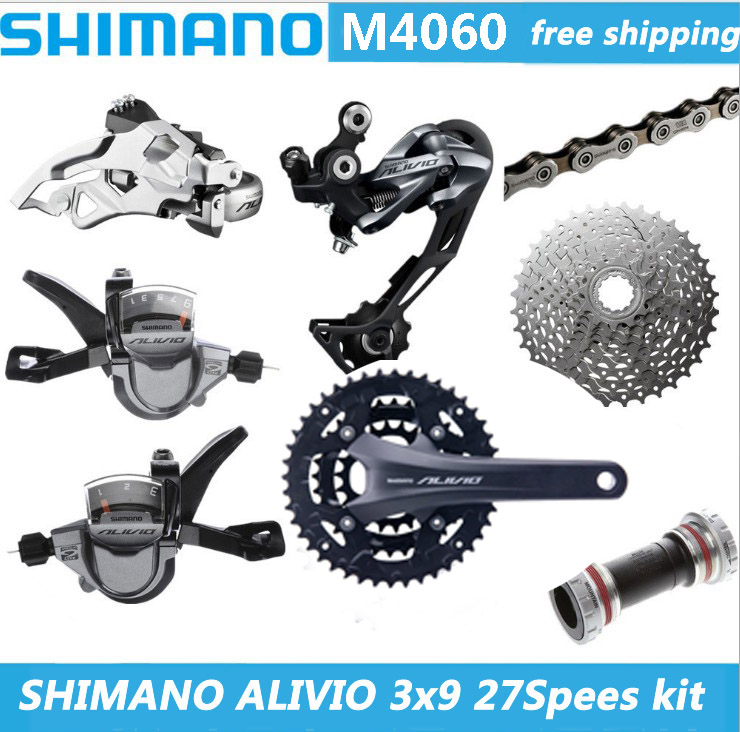 SHIMANO ALIVLO M4060 mountain bike shift kit Crank Sprockets 3X9 27 Speed Bicycle Parts The derailleur kit is free shipping shimano deorext fd m780 m781 front transmission mtb bike mountain bike parts 3x10s 30s speed