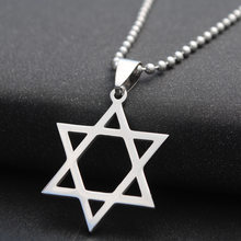 Fashion Stainless Steel Six-pointed Star Pendant Necklace Trendy Star of David Necklace Hexagram Jewelry Gift for Woman Men(China)