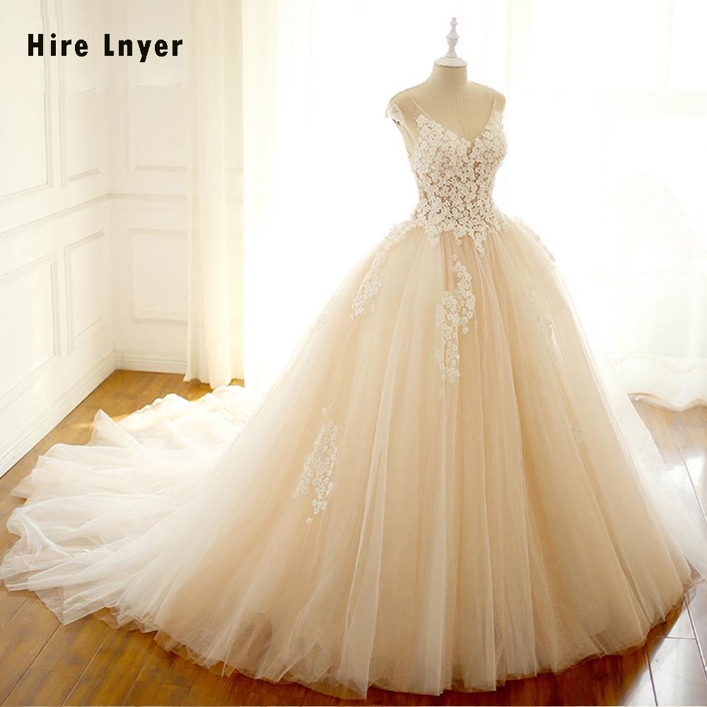 HIRE LNYER Custom Made V-neck Beading Flowers Ball Gown Wedding Dresses With Petticoat For Bride 2019 Vestido De Noiva