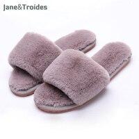 Autumn Home Fluffy Women Slippers Soft Warm Anti Slip Flip Flops Open Toe Plush House Sandals